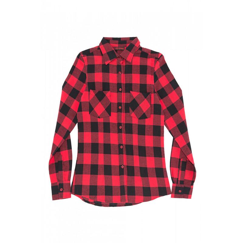 e0e3e04f87579 Camisa Cuadros Chica Roja y Negra